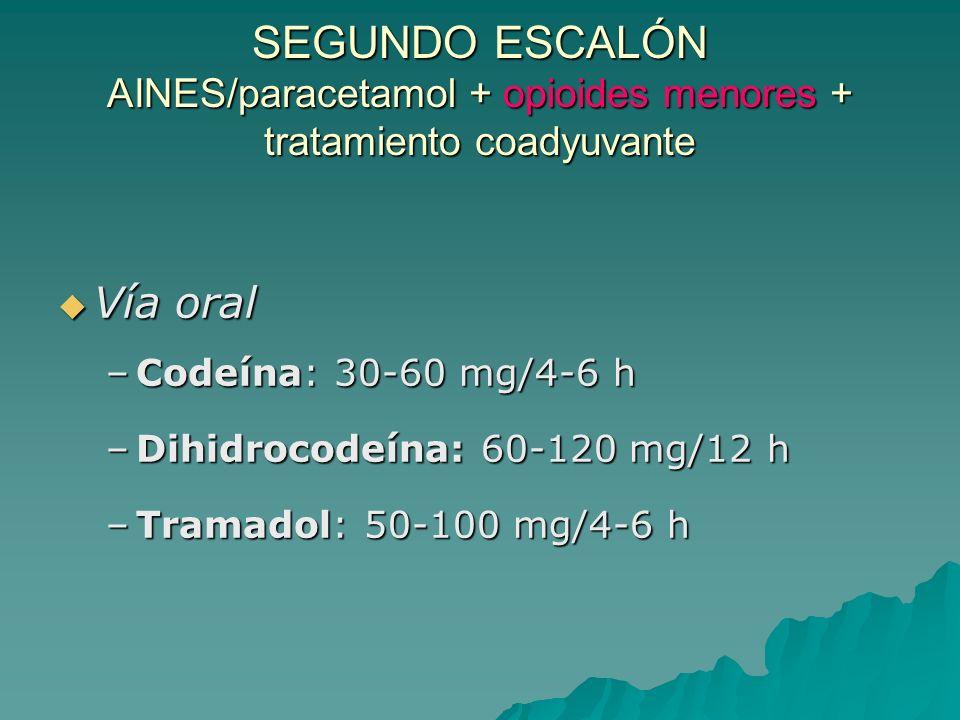 PRIMER ESCALÓN AAS/paracetamol/AINES Vía oral Vía oral –AAS: 500-650 mg/6 h –Paracetamol: 500-1000 mg/4-6 h –Metamizol: 500-1000 mg/4-6 h –Ibuprofeno*