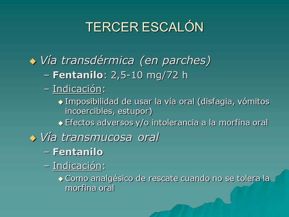 TERCER ESCALÓN AINES/paracetamol + tratamiento coadyuvante + opioides mayores Vía oral Vía oral –Morfina (+ laxante + antiemético) Tratamiento inicial