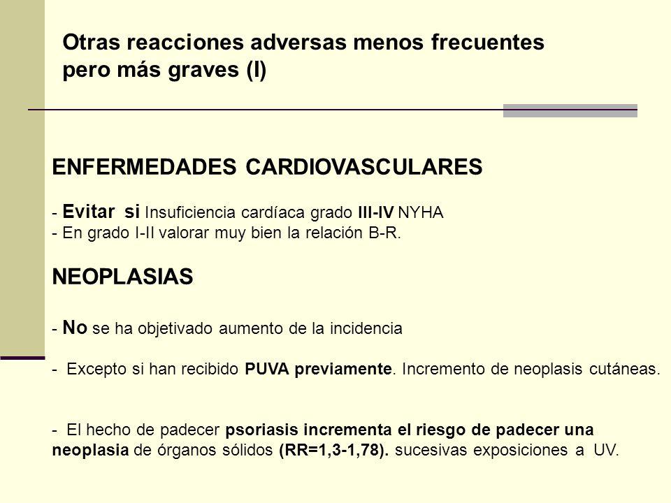 ENFERMEDADES CARDIOVASCULARES - Evitar si Insuficiencia cardíaca grado III-IV NYHA - En grado I-II valorar muy bien la relación B-R. NEOPLASIAS - No s