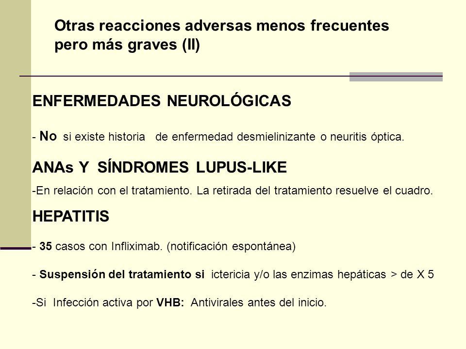 ENFERMEDADES NEUROLÓGICAS - No si existe historia de enfermedad desmielinizante o neuritis óptica. ANAs Y SÍNDROMES LUPUS-LIKE -En relación con el tra