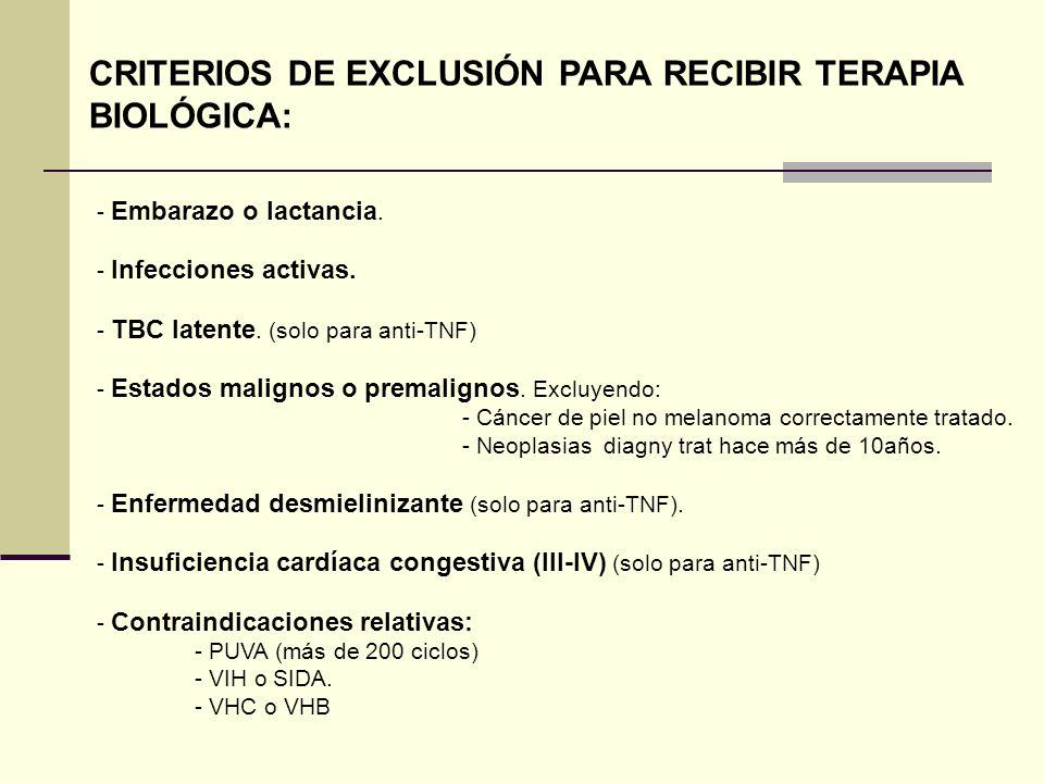 - Embarazo o lactancia. - Infecciones activas. - TBC latente. (solo para anti-TNF) - Estados malignos o premalignos. Excluyendo: - Cáncer de piel no m