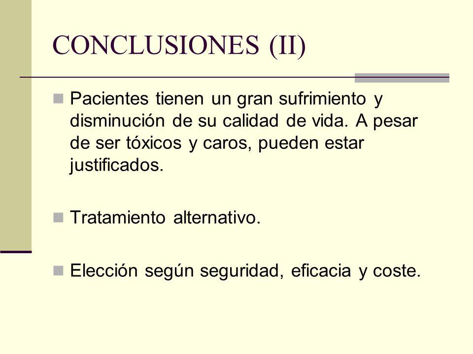 CONCLUSIONES (II) Pacientes tienen un gran sufrimiento y disminución de su calidad de vida. A pesar de ser tóxicos y caros, pueden estar justificados.