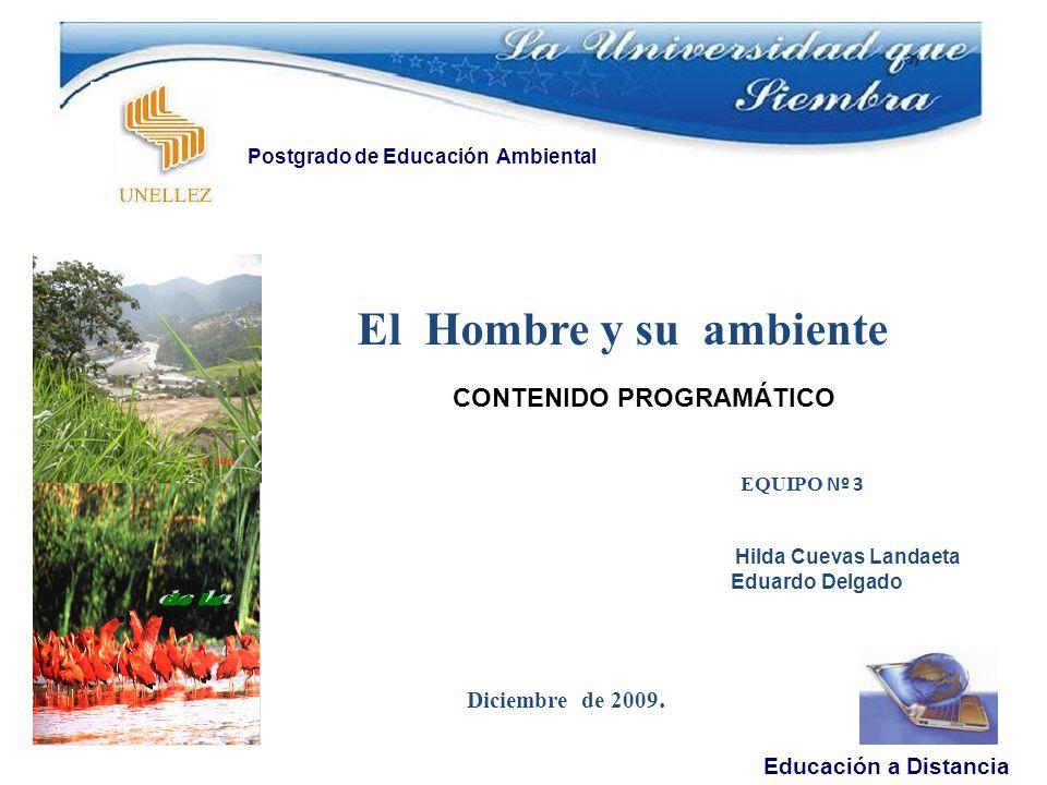 El Hombre y su ambiente EQUIPO Nº 3 Hilda Cuevas Landaeta Eduardo Delgado Diciembre de 2009.