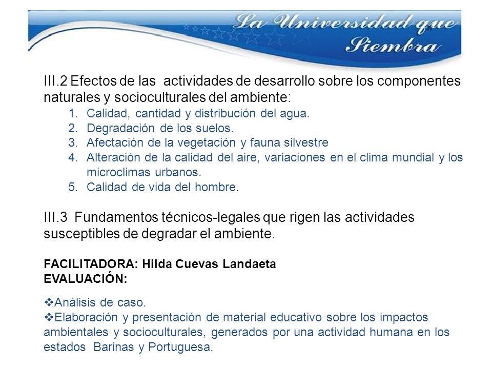 III.2 Efectos de las actividades de desarrollo sobre los componentes naturales y socioculturales del ambiente: 1.Calidad, cantidad y distribución del agua.