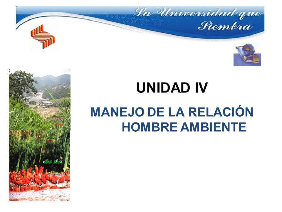 UNIDAD IV MANEJO DE LA RELACIÓN HOMBRE AMBIENTE