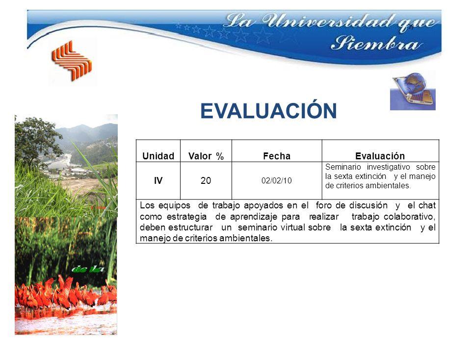 UnidadValor %FechaEvaluación IV20 02/02/10 Seminario investigativo sobre la sexta extinción y el manejo de criterios ambientales.