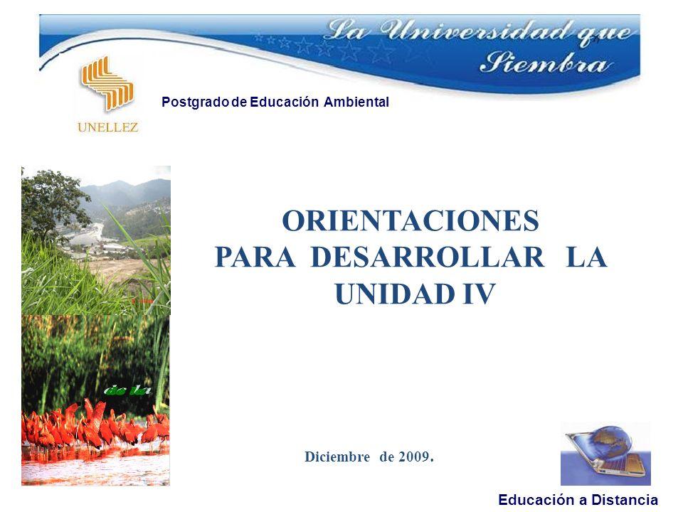 Diciembre de 2009. Educación a Distancia Postgrado de Educación Ambiental ORIENTACIONES PARA DESARROLLAR LA UNIDAD IV