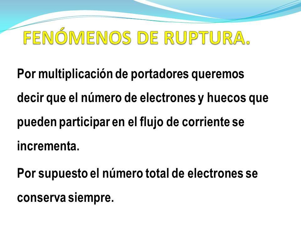Por multiplicación de portadores queremos decir que el número de electrones y huecos que pueden participar en el flujo de corriente se incrementa. Por