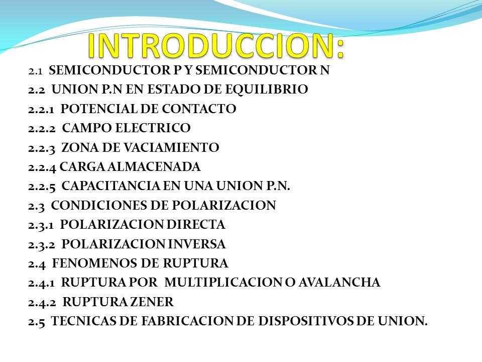 2.1 SEMICONDUCTOR P Y SEMICONDUCTOR N 2.2 UNION P.N EN ESTADO DE EQUILIBRIO 2.2.1 POTENCIAL DE CONTACTO 2.2.2 CAMPO ELECTRICO 2.2.3 ZONA DE VACIAMIENT