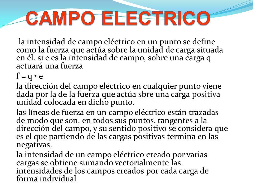 . la intensidad de campo eléctrico en un punto se define como la fuerza que actúa sobre la unidad de carga situada en él. si e es la intensidad de cam