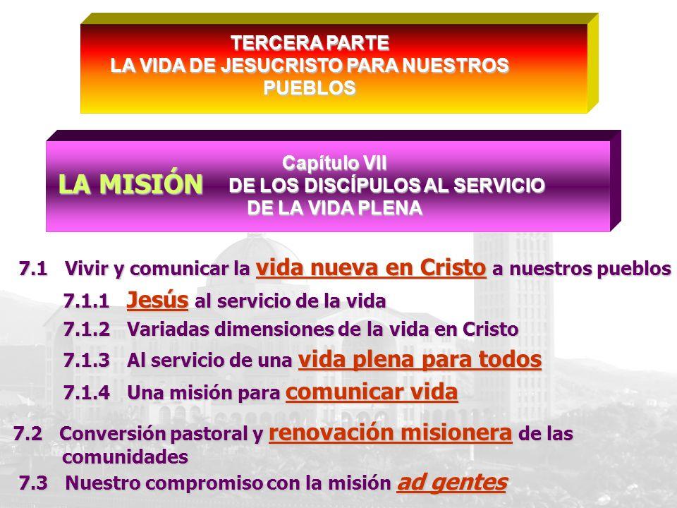 Capítulo VII DE LOS DISCÍPULOS AL SERVICIO DE LOS DISCÍPULOS AL SERVICIO DE LA VIDA PLENA 7.1 Vivir y comunicar la vida nueva en Cristo a nuestros pue