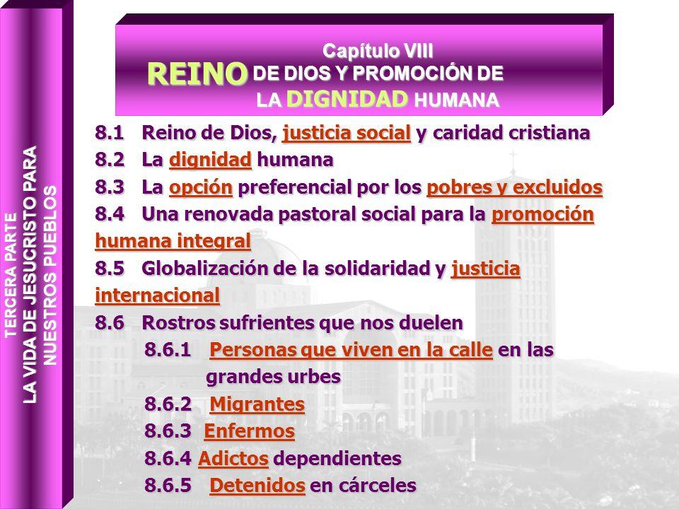 8.1 Reino de Dios, justicia social y caridad cristiana 8.2 La dignidad humana 8.3 La opción preferencial por los pobres y excluidos 8.4 Una renovada p