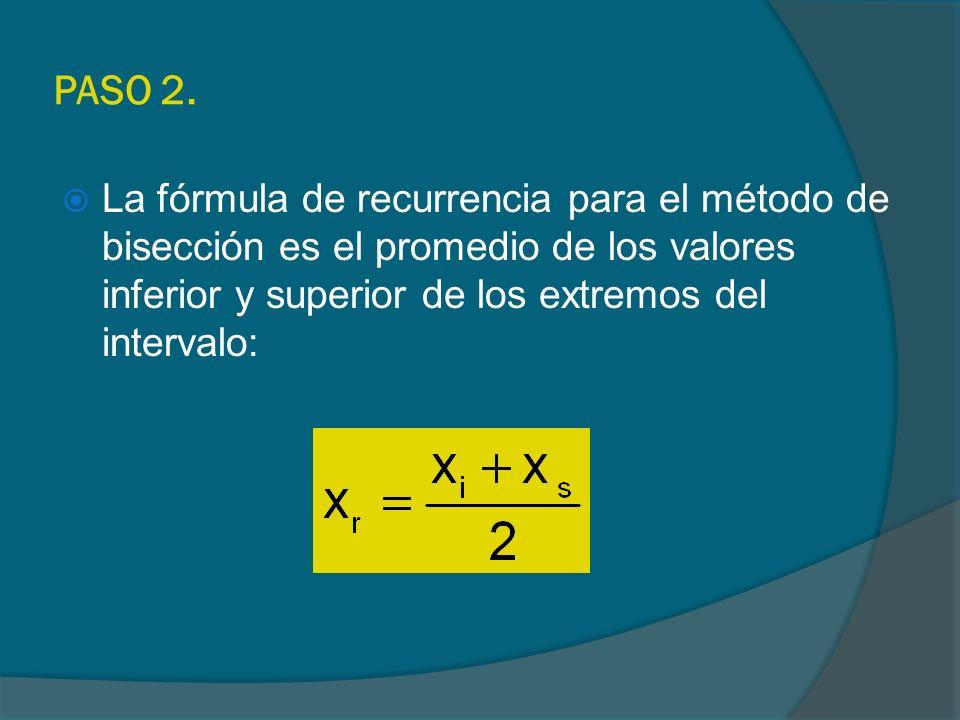 PASO 2. La fórmula de recurrencia para el método de bisección es el promedio de los valores inferior y superior de los extremos del intervalo: