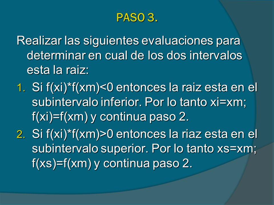 PASO 3. Realizar las siguientes evaluaciones para determinar en cual de los dos intervalos esta la raiz: 1. Si f(xi)*f(xm)<0 entonces la raiz esta en