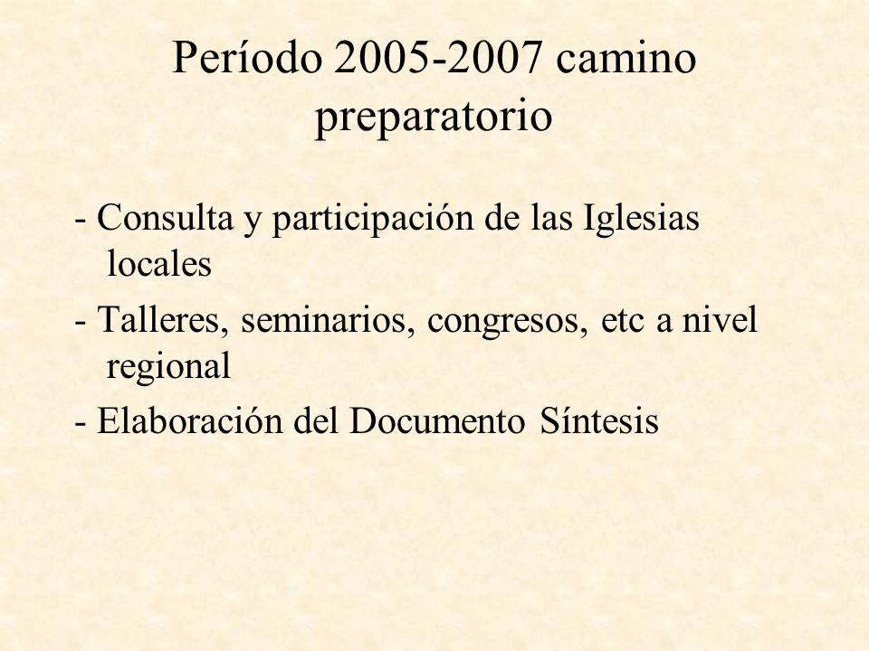 Período 2005-2007 camino preparatorio - Consulta y participación de las Iglesias locales - Talleres, seminarios, congresos, etc a nivel regional - Elaboración del Documento Síntesis