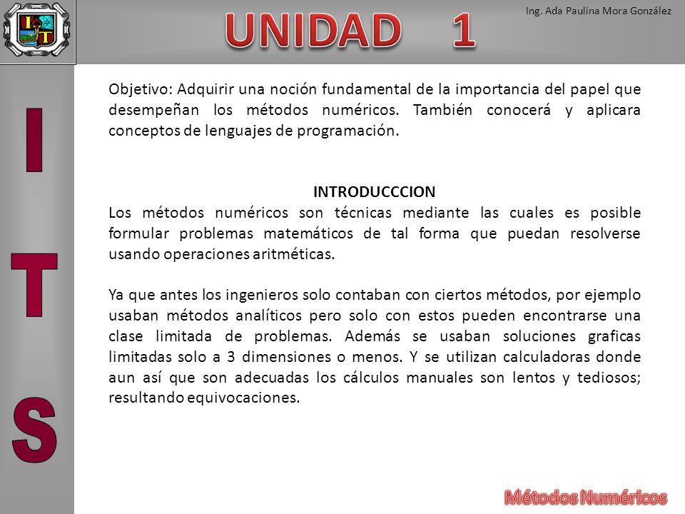 Ing. Ada Paulina Mora González Objetivo: Adquirir una noción fundamental de la importancia del papel que desempeñan los métodos numéricos. También con