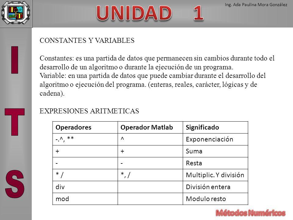 Ing. Ada Paulina Mora González CONSTANTES Y VARIABLES Constantes: es una partida de datos que permanecen sin cambios durante todo el desarrollo de un