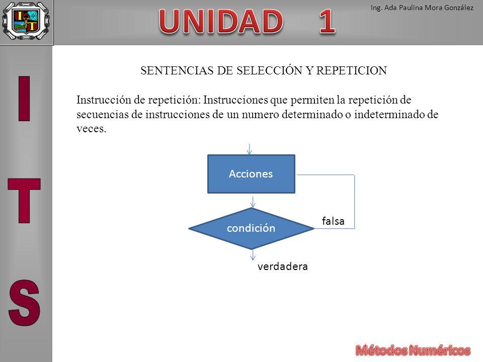 Ing. Ada Paulina Mora González SENTENCIAS DE SELECCIÓN Y REPETICION Instrucción de repetición: Instrucciones que permiten la repetición de secuencias