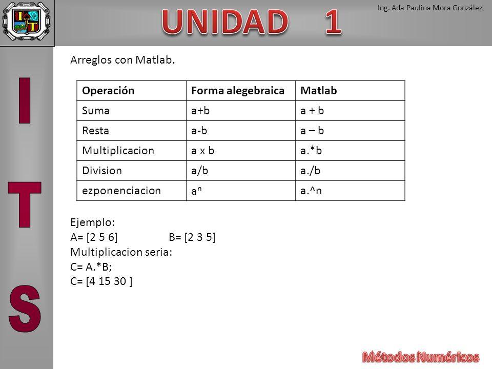Ing. Ada Paulina Mora González Arreglos con Matlab. Ejemplo: A= [2 5 6]B= [2 3 5] Multiplicacion seria: C= A.*B; C= [4 15 30 ] OperaciónForma alegebra