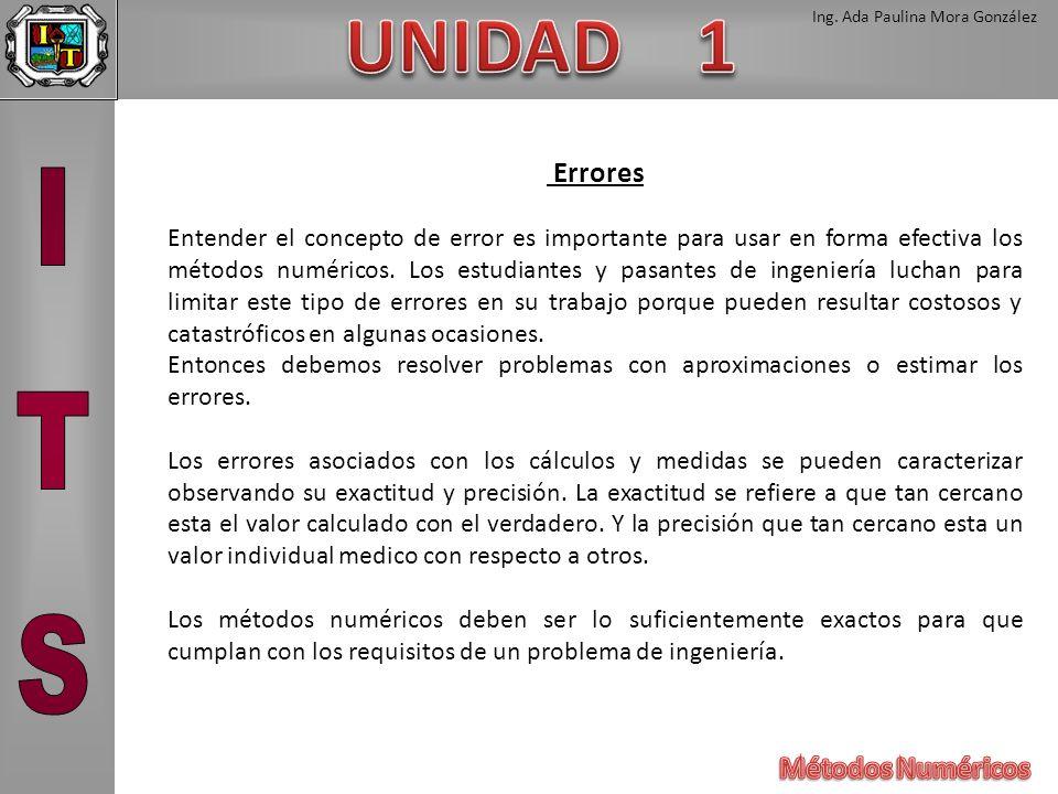 Ing. Ada Paulina Mora González Errores Entender el concepto de error es importante para usar en forma efectiva los métodos numéricos. Los estudiantes