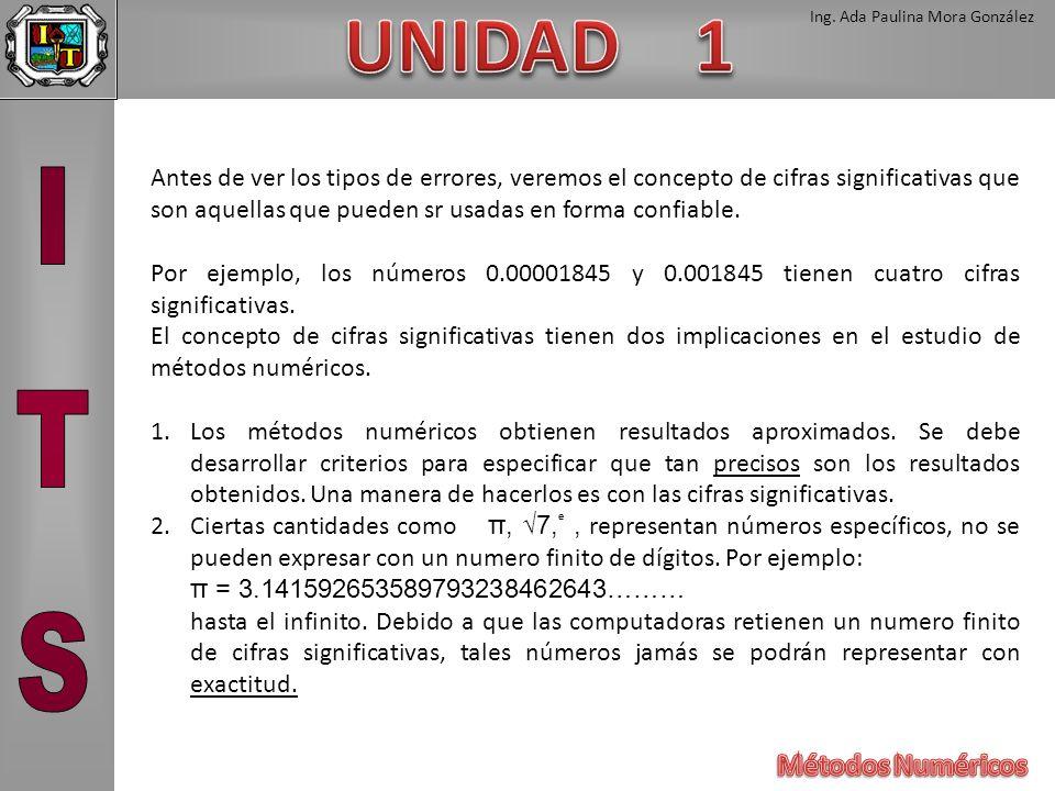 Ing. Ada Paulina Mora González Antes de ver los tipos de errores, veremos el concepto de cifras significativas que son aquellas que pueden sr usadas e