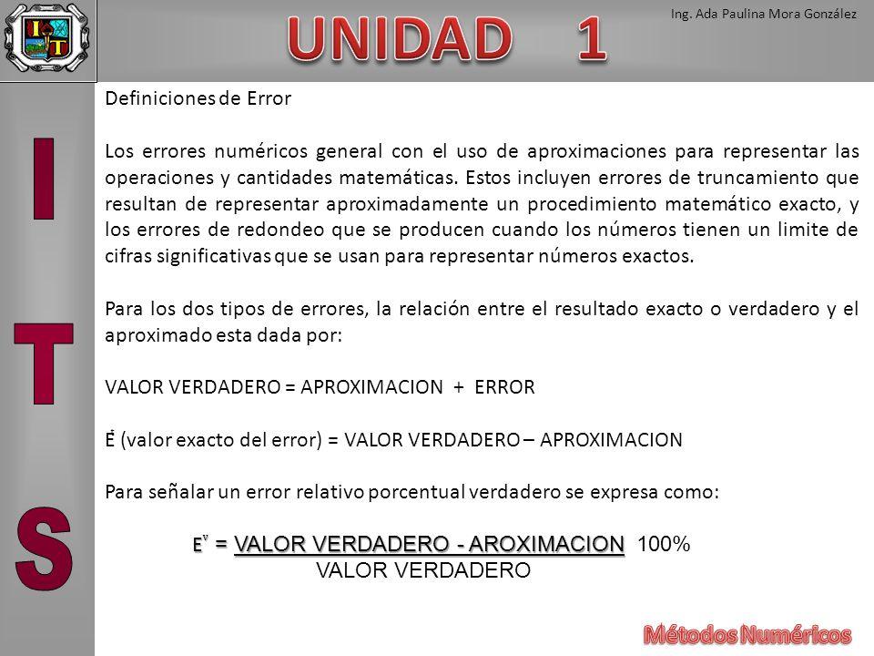 Ing. Ada Paulina Mora González Definiciones de Error Los errores numéricos general con el uso de aproximaciones para representar las operaciones y can