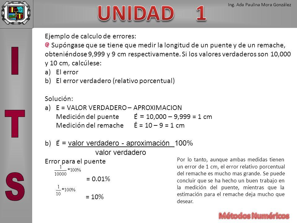 Ing. Ada Paulina Mora González Ejemplo de calculo de errores: Supóngase que se tiene que medir la longitud de un puente y de un remache, obteniéndose