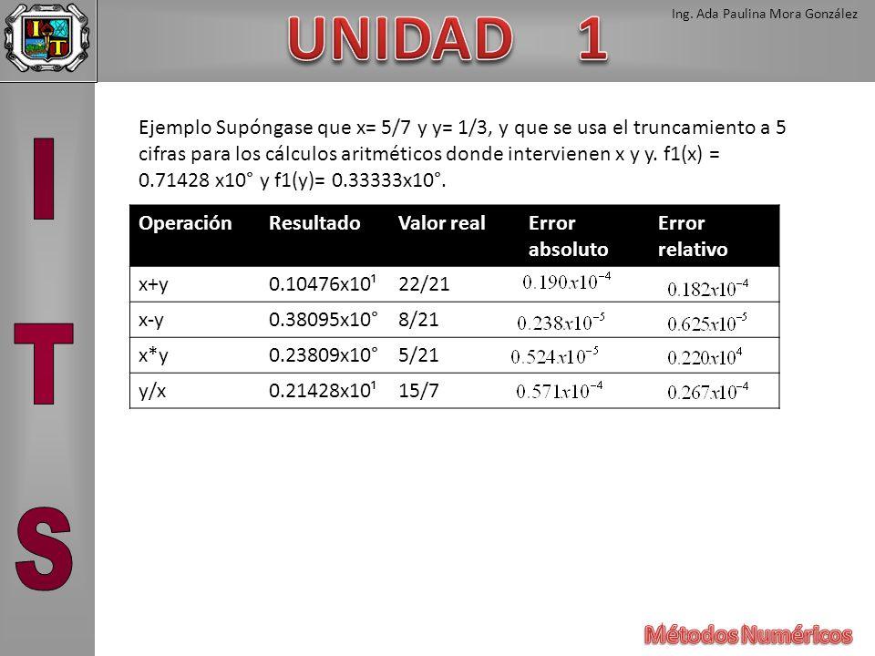 Ing. Ada Paulina Mora González Ejemplo Supóngase que x= 5/7 y y= 1/3, y que se usa el truncamiento a 5 cifras para los cálculos aritméticos donde inte