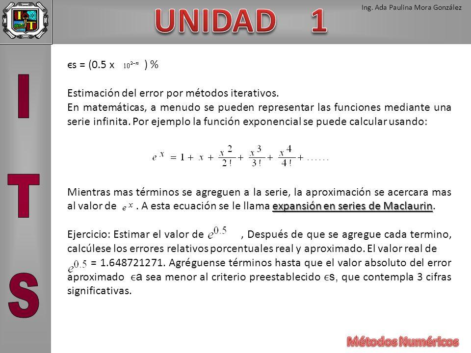 Ing. Ada Paulina Mora González ϵs = (0.5 x ) % Estimación del error por métodos iterativos. En matemáticas, a menudo se pueden representar las funcion
