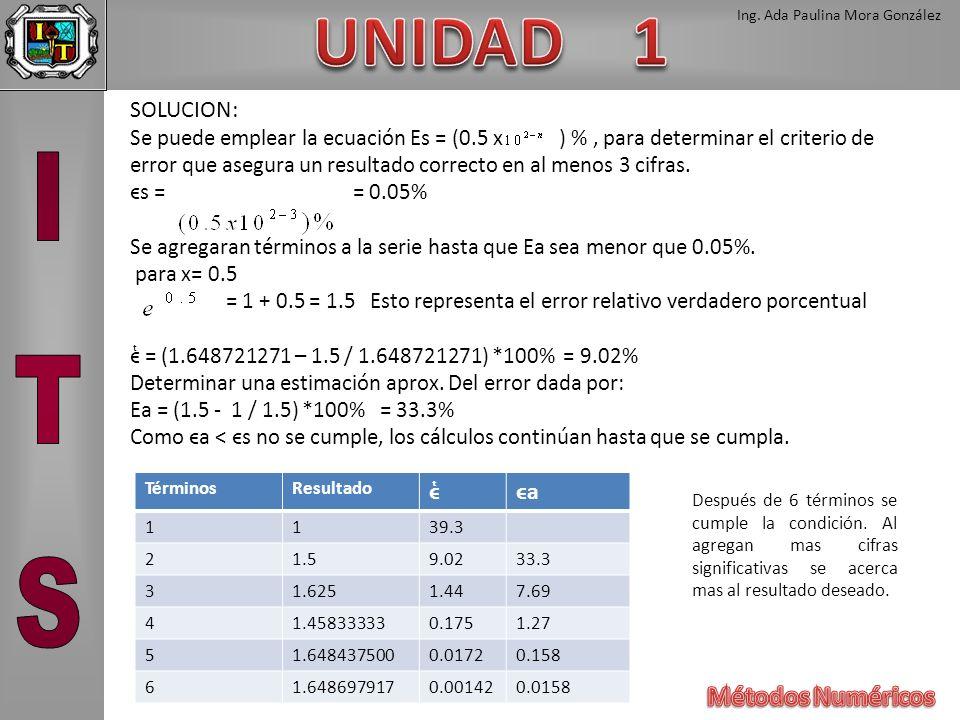 Ing. Ada Paulina Mora González SOLUCION: Se puede emplear la ecuación Es = (0.5 x ) %, para determinar el criterio de error que asegura un resultado c