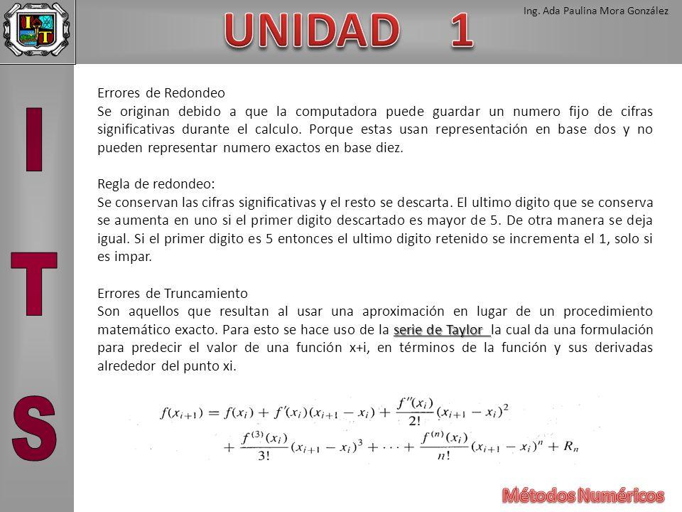 Ing. Ada Paulina Mora González Errores de Redondeo Se originan debido a que la computadora puede guardar un numero fijo de cifras significativas duran
