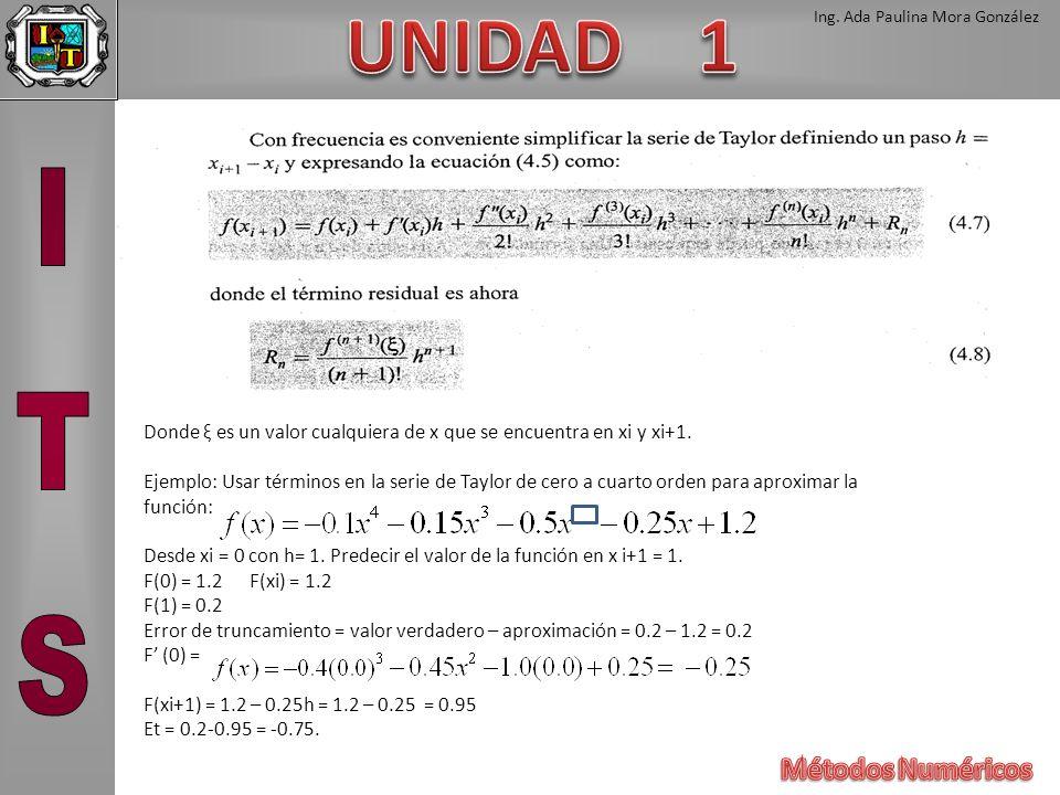 Ing. Ada Paulina Mora González Donde ξ es un valor cualquiera de x que se encuentra en xi y xi+1. Ejemplo: Usar términos en la serie de Taylor de cero