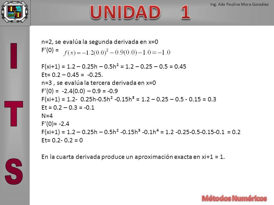 Ing. Ada Paulina Mora González n=2, se evalúa la segunda derivada en x=0 F(0) = F(xi+1) = 1.2 – 0.25h – 0.5h² = 1.2 – 0.25 – 0.5 = 0.45 Et= 0.2 – 0.45