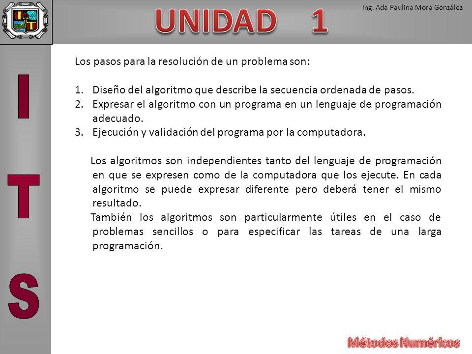 Ing. Ada Paulina Mora González Los pasos para la resolución de un problema son: 1.Diseño del algoritmo que describe la secuencia ordenada de pasos. 2.