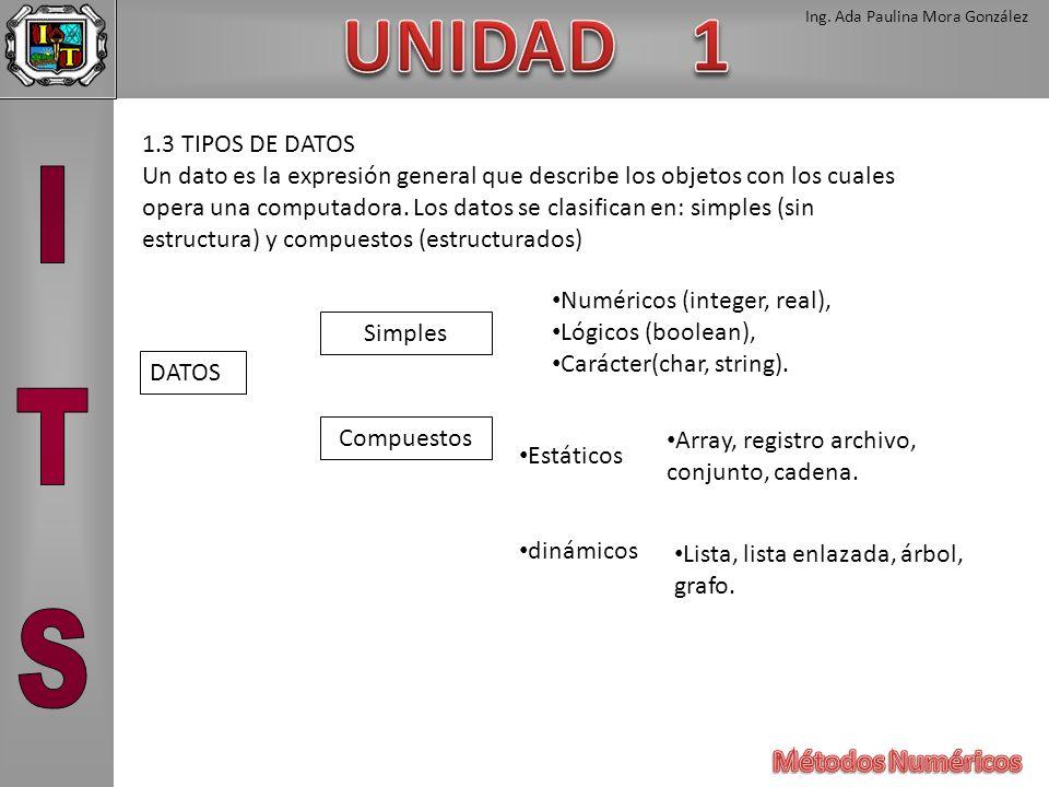 Ing. Ada Paulina Mora González 1.3 TIPOS DE DATOS Un dato es la expresión general que describe los objetos con los cuales opera una computadora. Los d