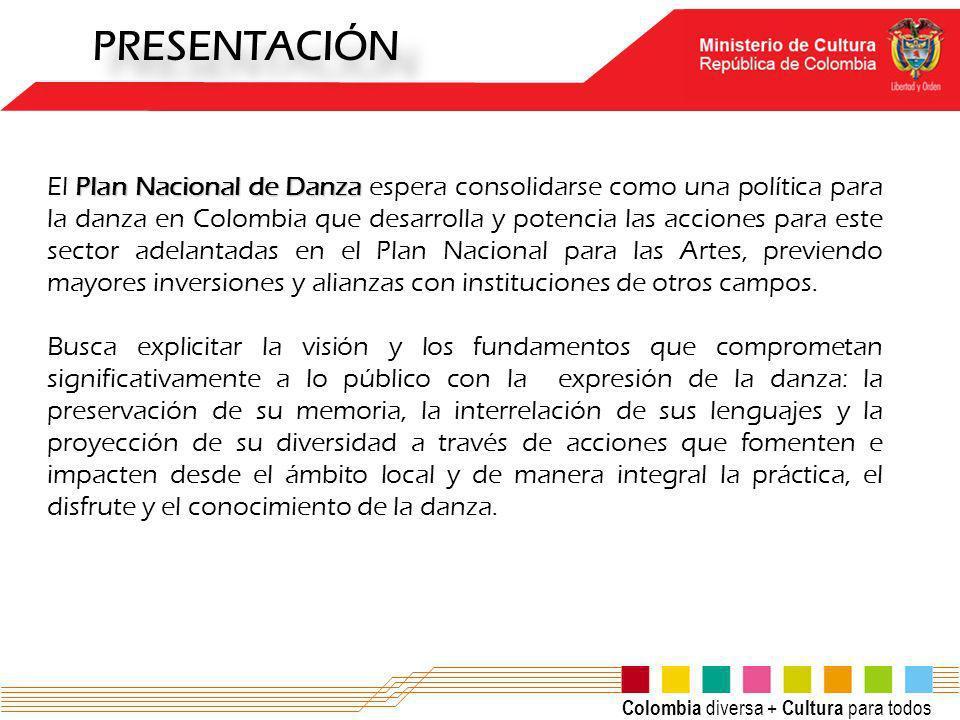 PRESENTACIÓN Plan Nacional de Danza El Plan Nacional de Danza espera consolidarse como una política para la danza en Colombia que desarrolla y potenci