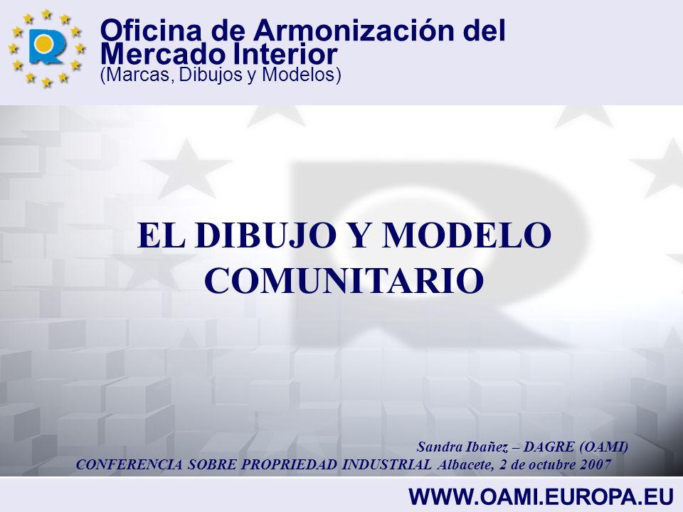 Oficina de Armonización del Mercado Interior (Marcas, Dibujos y Modelos) EL DIBUJO COMUNITARIO EL DIBUJO COMUNITARIO SE BASA EN LOS SIGUIENTES REGLAMENTOS: REGLAMENTO (CE) Nº6/2002 DEL CONSEJO DEL 12 de diciembre 2001 REGLAMENTO DE EJECUCIÓN(CE) Nº2245/2002 DE LA COMISIÓN
