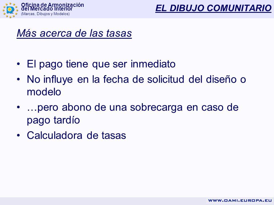 Oficina de Armonización del Mercado Interior (Marcas, Dibujos y Modelos) EL DIBUJO COMUNITARIO Más acerca de las tasas El pago tiene que ser inmediato