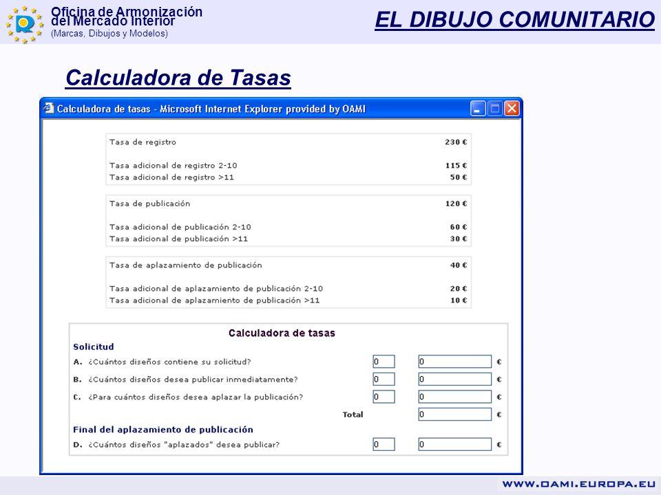 Oficina de Armonización del Mercado Interior (Marcas, Dibujos y Modelos) EL DIBUJO COMUNITARIO Calculadora de Tasas