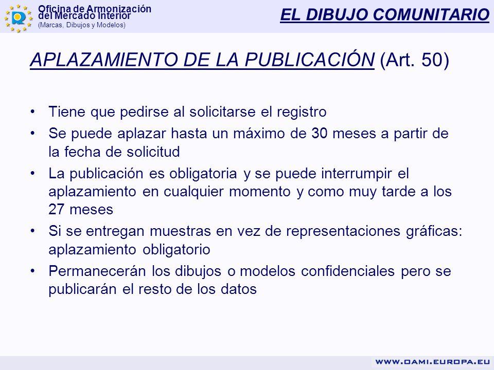 Oficina de Armonización del Mercado Interior (Marcas, Dibujos y Modelos) EL DIBUJO COMUNITARIO APLAZAMIENTO DE LA PUBLICACIÓN (Art. 50) Tiene que pedi