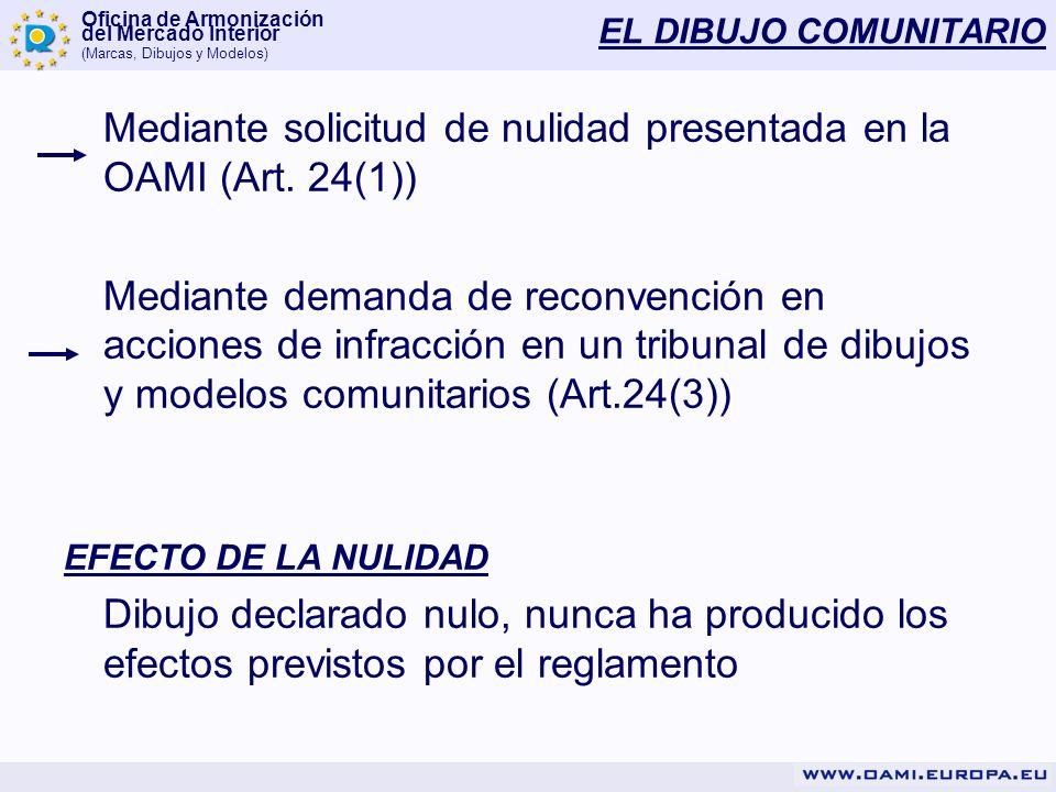 Oficina de Armonización del Mercado Interior (Marcas, Dibujos y Modelos) EL DIBUJO COMUNITARIO Mediante solicitud de nulidad presentada en la OAMI (Ar