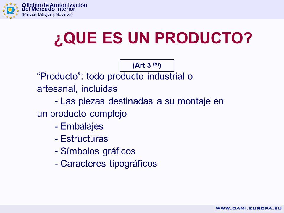 Oficina de Armonización del Mercado Interior (Marcas, Dibujos y Modelos) Producto: todo producto industrial o artesanal, incluidas - Las piezas destin