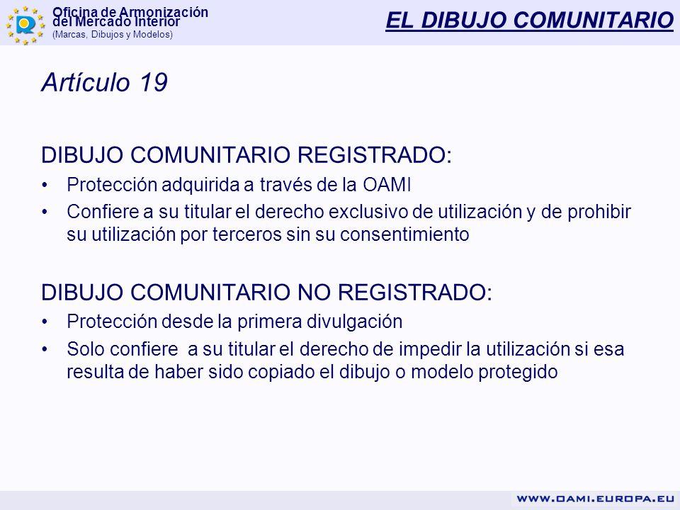 Oficina de Armonización del Mercado Interior (Marcas, Dibujos y Modelos) EL DIBUJO COMUNITARIO VALIDEZ MODELO COMUNITARIO REGISTRADO: - 5 años renovables 4 veces MODELO COMUNITARIO NO REGISTRADO: - 3 años