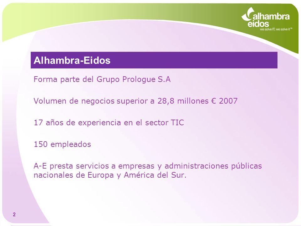 2 Alhambra-Eidos Forma parte del Grupo Prologue S.A Volumen de negocios superior a 28,8 millones 2007 17 años de experiencia en el sector TIC 150 empl