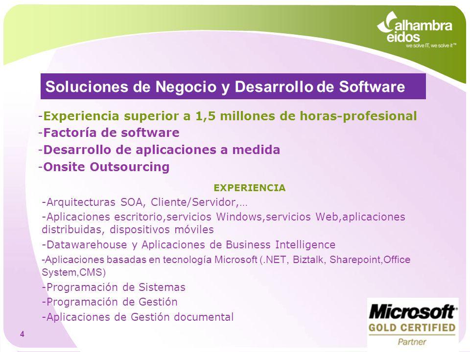 Soluciones de Negocio y Desarrollo de Software -Experiencia superior a 1,5 millones de horas-profesional -Factoría de software -Desarrollo de aplicaci