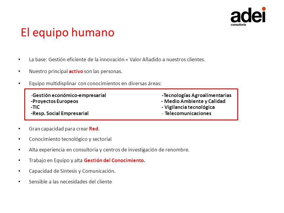 El equipo humano La base: Gestión eficiente de la innovación = Valor Añadido a nuestros clientes. Nuestro principal activo son las personas. Equipo mu