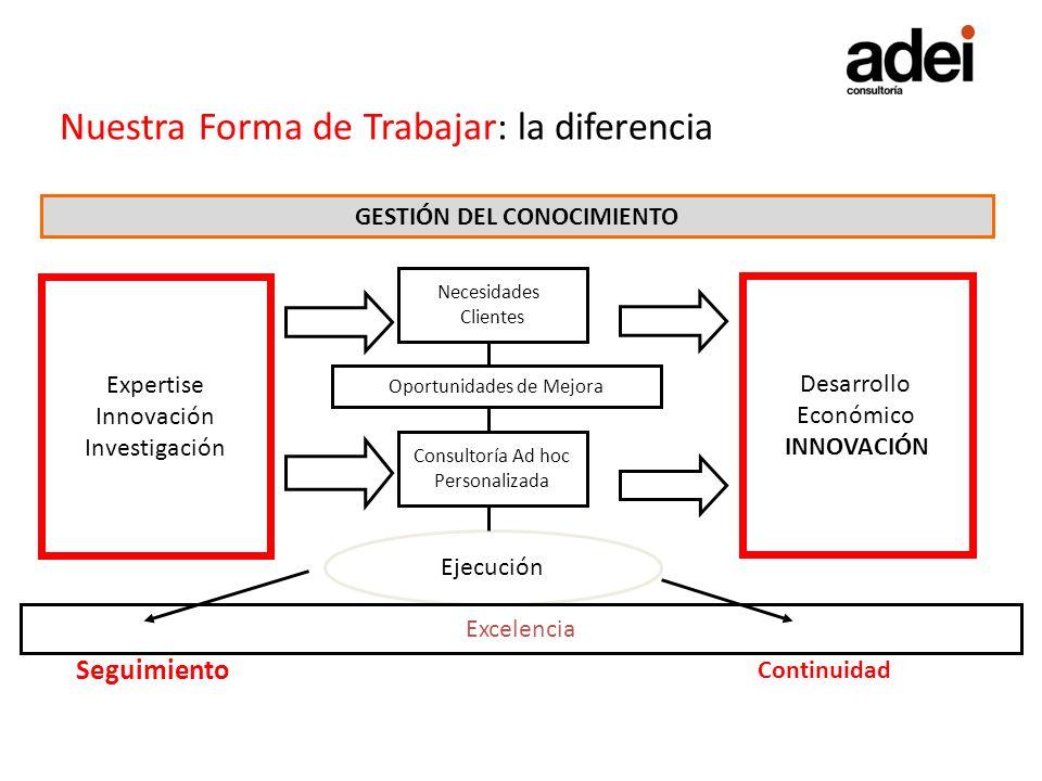 Nuestra Forma de Trabajar: la diferencia GESTIÓN DEL CONOCIMIENTO Necesidades Clientes Oportunidades de Mejora Consultoría Ad hoc Personalizada Ejecuc