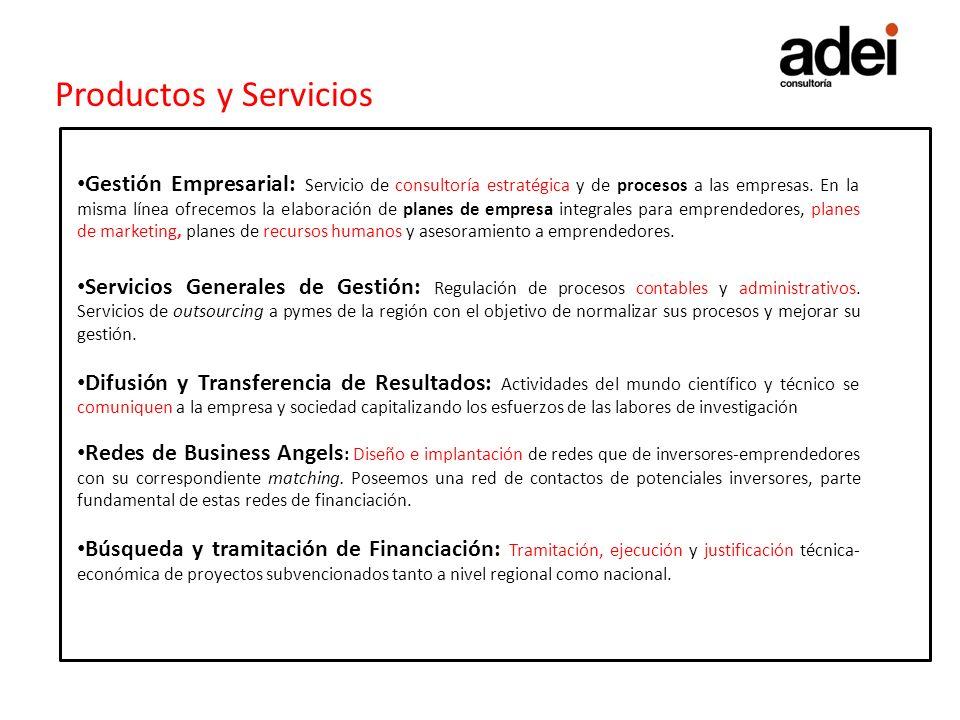 Productos y Servicios Gestión Empresarial: Servicio de consultoría estratégica y de procesos a las empresas. En la misma línea ofrecemos la elaboració