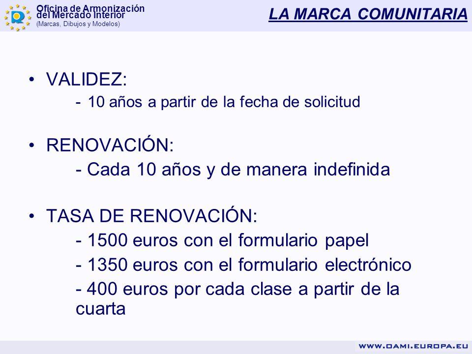 Oficina de Armonización del Mercado Interior (Marcas, Dibujos y Modelos) LA MARCA COMUNITARIA VALIDEZ: -10 años a partir de la fecha de solicitud RENO