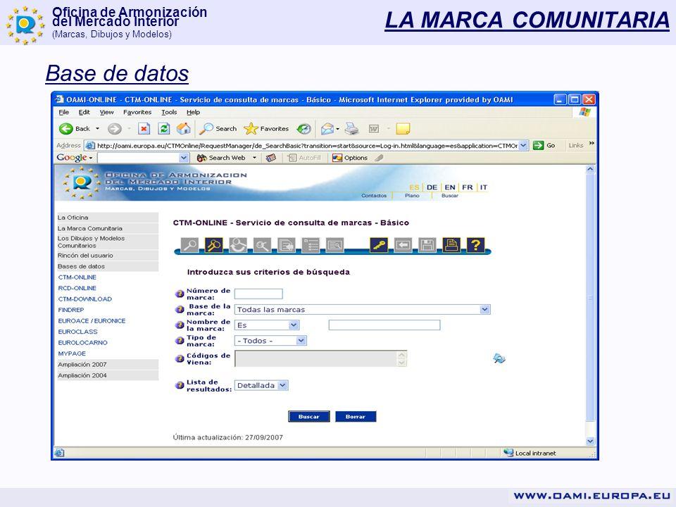 Oficina de Armonización del Mercado Interior (Marcas, Dibujos y Modelos) LA MARCA COMUNITARIA Base de datos